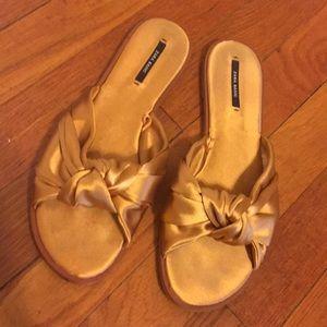 Zara Golden Silk Knotted Slip on Sandal